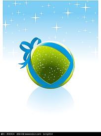 绿色圣诞节圆球矢量背景