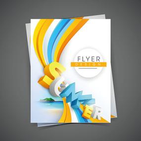 彩色立体字白色纸张商业背景素材