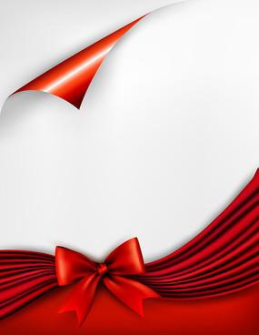 红色蝴蝶结卷边纸张矢量商业精美背景