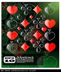 华丽扑克牌组成图形花纹背景