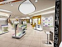 化妆品店展柜3d模型室内设计