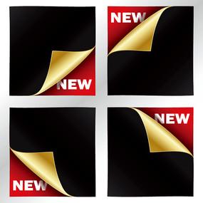 黑色金色卷边纸张商业创意背景素材