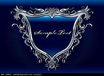 银色高档三角边框蓝色商业背景素材