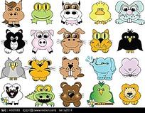 可爱小动物头像插画