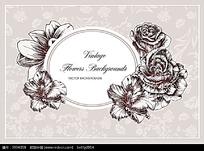 花朵和椭圆边框矢量背景
