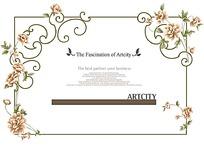 欧式线条花朵边框背景素材