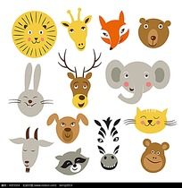 可爱动物头像卡通矢量人物插画
