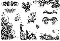 矢量黑白花纹边框
