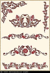 红色典雅叶子花纹边框