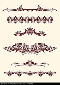 红色卷曲花纹边框