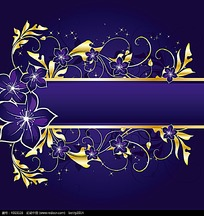 紫色扶桑花金色边框
