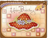 花朵和帽子图案生日卡片设计