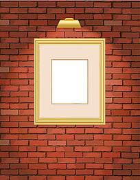 红砖上的简洁欧式相框
