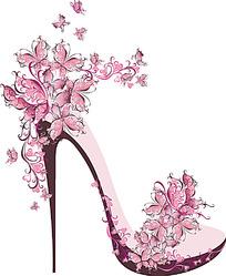 绚丽花朵花纹高跟鞋