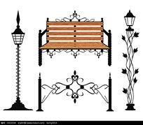 欧式线条藤蔓路灯座椅矢量素材eps