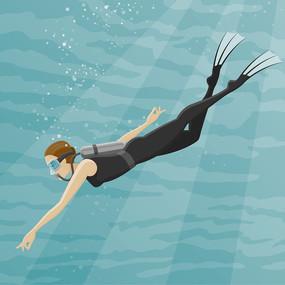 手绘穿着黑色潜水衣的潜水员