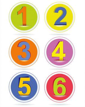 矢量圆形数字标签素材