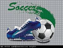 足球球鞋矢量图形