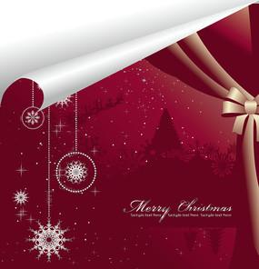 紫色圣诞夜景背景卡片