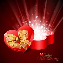 打开的精美红色心形礼盒矢量素材