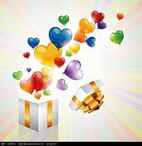 打开的礼盒和飞出的彩色心形
