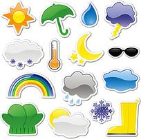 太阳和雨伞等天气矢量图标