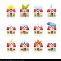 一套红顶房屋的天气矢量图标