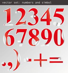 贴纸样式数字字体设计素材