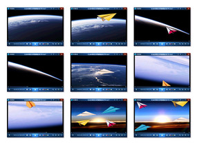 高清纸飞机太空飞翔视频素材