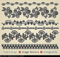 黑白花纹边框素材