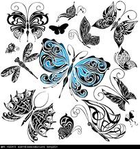 黑白花纹蝴蝶素材