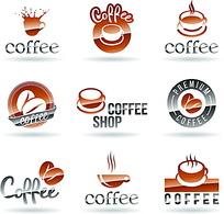 咖啡豆和杯子等组合成的矢量标志