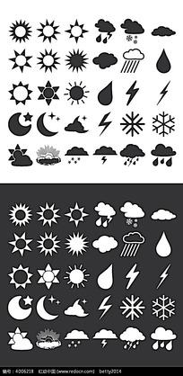 全套可爱黑白天气矢量图标