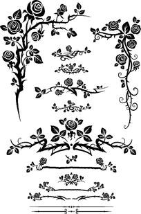 黑白玫瑰花纹边框素材