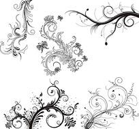 多种黑白花边花纹矢量素材