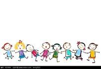手牵手的一群小孩手绘图