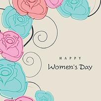手绘线描花朵花纹妇女节矢量素材