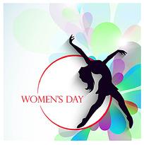跳舞的女性剪影背景妇女节矢量素材