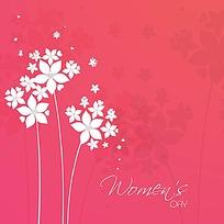 唯美小花背景妇女节矢量卡片素材