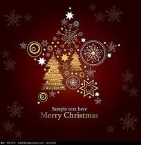 雪花五角星边框圣诞矢量卡片素材