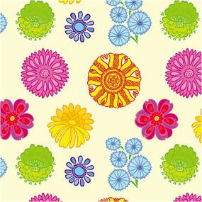 彩色花朵矢量背景素材
