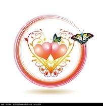 粉色心形彩色蝴蝶蔓藤矢量素材
