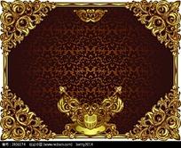 金色方形边框矢量背景