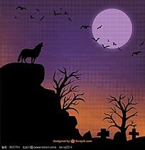 狼和蝙蝠图案矢量背景