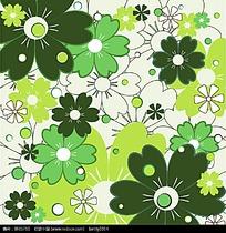 绿色系花朵矢量背景