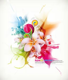 多彩花朵矢量背景