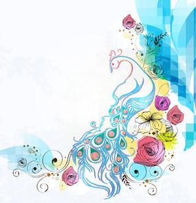 孔雀花纹花朵矢量背景