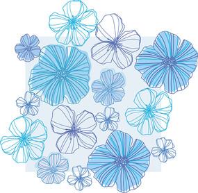 清新线描花朵矢量背景