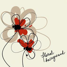 手绘简笔花朵矢量背景