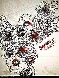 手绘线描花朵矢量背景